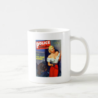 Retro Vintage Kitsch Pulp Women Police Detective Basic White Mug