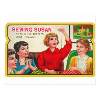 Retro Vintage Kitsch Sewing Susan Needles Book Postcard