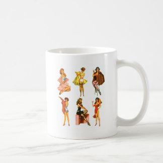 Retro Vintage Kitsch Six Pin Up Pinup Girls Basic White Mug