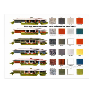 Retro Vintage Kitsch Suburbs Approved House Colors Postcard