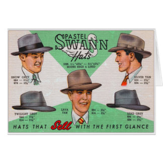 Retro Vintage Kitsch Swann Mens Hats Fedora Greeting Card