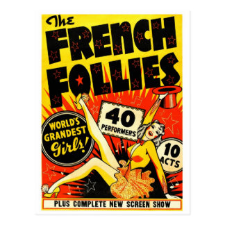 Retro Vintage Kitsch The French Follies Girls Postcard