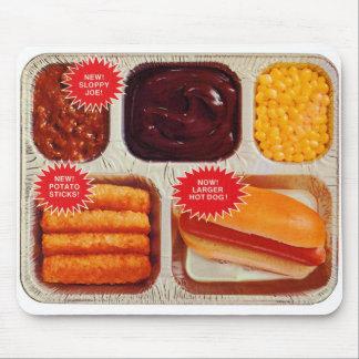 Retro Vintage Kitsch TV Dinner Now Bigger Hot Dog Mouse Pad