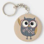 Retro Vintage Owl Basic Round Button Key Ring