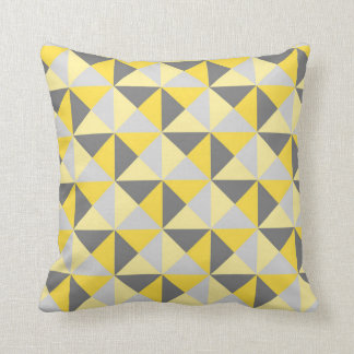 Retro Yellow Grey Geometric Triangles Pillow Cushion