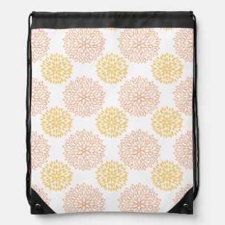 Retro Yellow, Orange, and White Flowers, Floral Backpack
