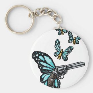 Revolver, Bullets and Butterflies Products Basic Round Button Key Ring