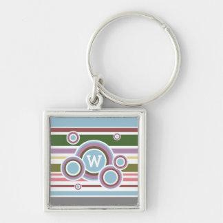 Riley Silver-Colored Square Key Ring