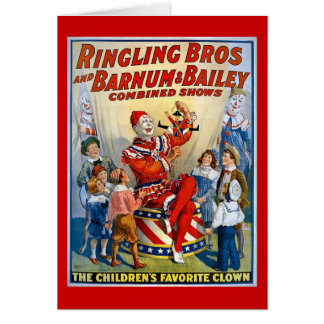 Ringling Brothers & Barnum & Bailey Vintage Clown Greeting Card