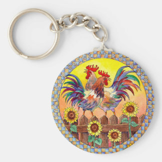 RISE & SHINE ROOSTERS by SHARON SHARPE Basic Round Button Key Ring