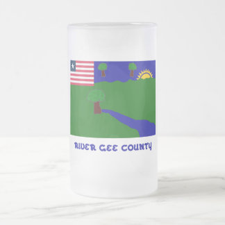 River Gee County Flag with Name Frosted Glass Mug