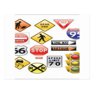 Road signs and traffic light design postcard