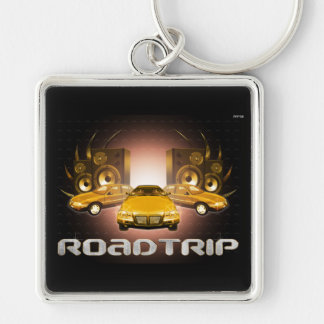 Road Trip Silver-Colored Square Key Ring