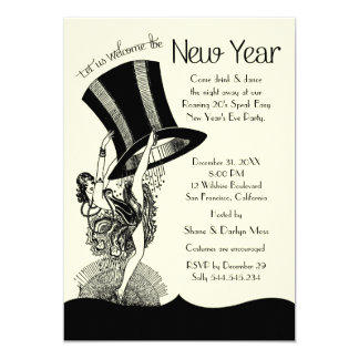 Roaring 20's New Year's Eve Party 13 Cm X 18 Cm Invitation Card