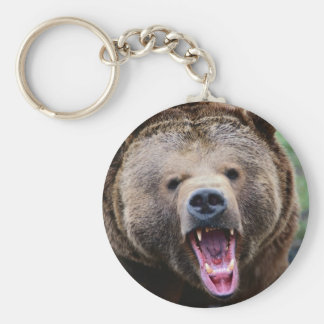 Roaring Grizzly Bear Basic Round Button Key Ring