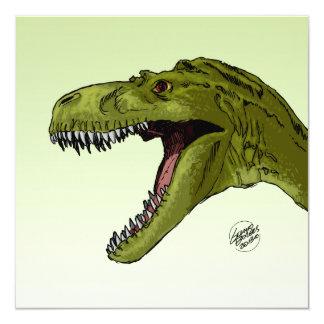 Roaring T-Rex Dinosaur by Geraldo Borges 13 Cm X 13 Cm Square Invitation Card