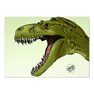Roaring T-Rex Dinosaur by Geraldo Borges 13 Cm X 18 Cm Invitation Card