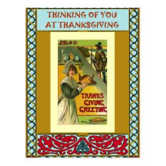 Roast turkey, settler style postcard