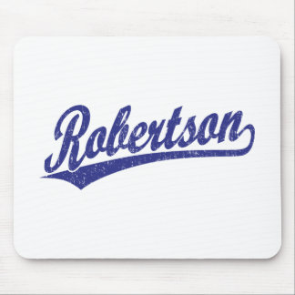 Robertson script logo in blue distressed mouse pad