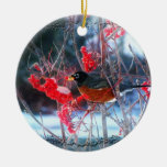 Robin in the Tree Round Ceramic Decoration