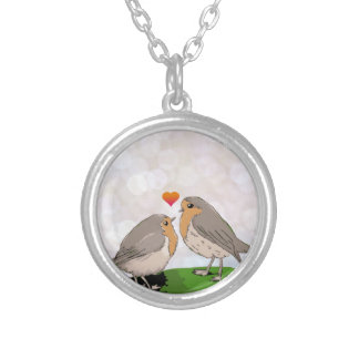 Robin red breast bird love round pendant necklace
