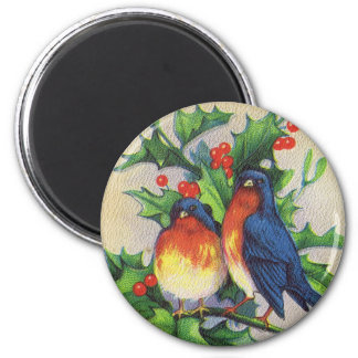 Robins & Holly Christmas 6 Cm Round Magnet