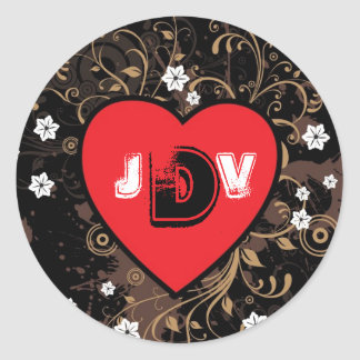 Rock and Roll Grungy Heart (Brown) Seal Round Sticker