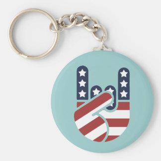 Rock Hand USA Basic Round Button Key Ring