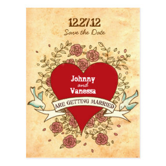 Rock 'n' Roll Wedding (Roses) Save the Date Postcard