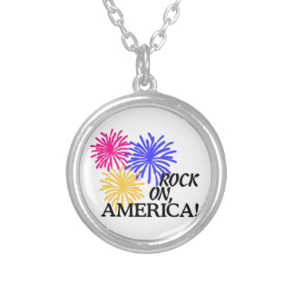 Rock On,America! Round Pendant Necklace