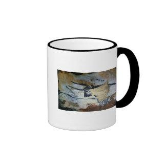 Rock painting of a bull with long horns ringer mug