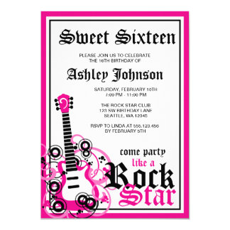 Rock Star Guitar Sweet 16 Birthday Party Pink 13 Cm X 18 Cm Invitation Card