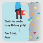 Rock Wall Climbing Birthday Party Favour Square Sticker