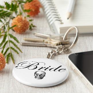 Rocker Bride Goth Skull Basic Round Button Key Ring