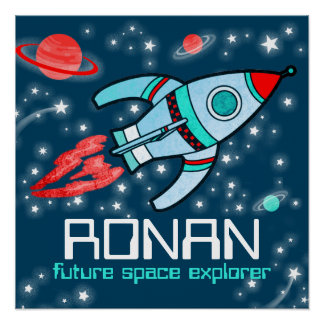 Rocket space boys blue red personalized poster