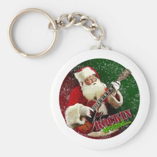 Rockin Santa Basic Round Button Key Ring