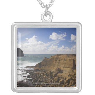 Rocky Oregon Pacific Coast in Pacific City Square Pendant Necklace