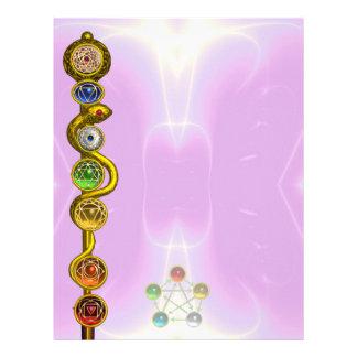 ROD OF ASCLEPIUS WITH 7 CHAKRAS ,SPIRITUAL ENERGY LETTERHEAD DESIGN