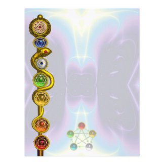 ROD OF ASCLEPIUS WITH 7 CHAKRAS ,SPIRITUAL ENERGY LETTERHEAD TEMPLATE