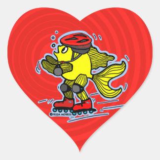 Rollerblade Fish funny Skating cartoon Heart Sticker