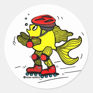 Rollerblade Fish funny Skating cartoon Round Sticker