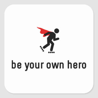 Rollerblading Hero Square Sticker