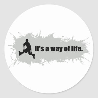 Rollerblading is a Way of Life Round Sticker