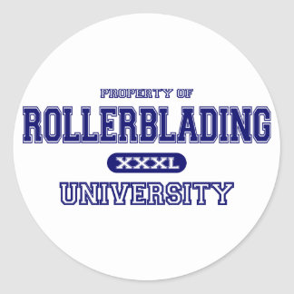 Rollerblading University Round Sticker