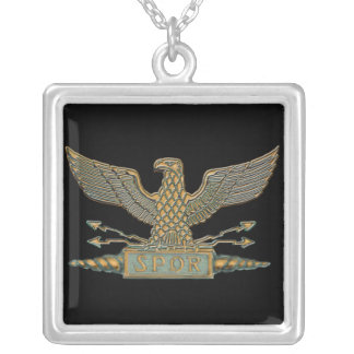 Roman Eagle Copper Square Pendant Necklace