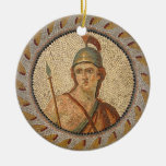 Roman Soldier Mosaic Round Ceramic Decoration