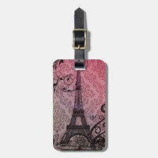 romantic autumn pink damask Paris Eiffel Tower Tag For Bags
