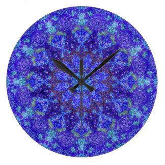 Romantic blue-colored mandala ornament arabesque wall clocks