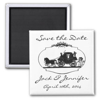 Romantic Carriage Silhouette - Save the Date Square Magnet