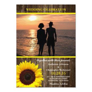 Romantic Couple Holding Hands at Sunset/sunflower 13 Cm X 18 Cm Invitation Card
